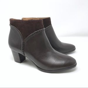 Jack Rogers Margot Dark Brown Leather Ankle Bootie